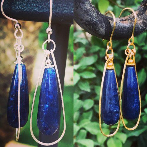 Sapphire Drop Earrings, by Denise Bellinger  - featured on Jewelry Making Journal
