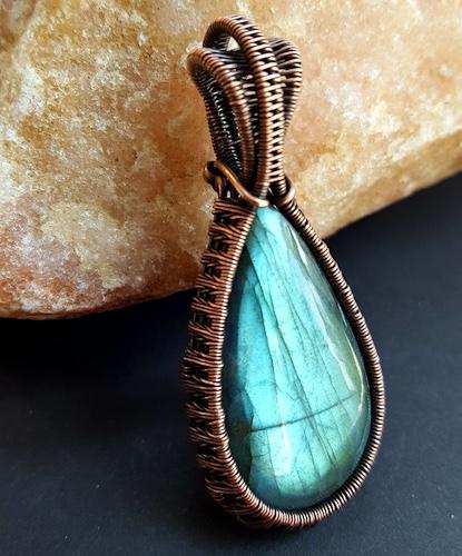 Labradorite Coiled Wire Wrapped Pendant in Copper