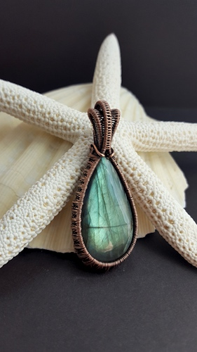 Copper Wire Wrapped Labradorite Pendant by Linda Rolsma  - featured on Jewelry Making Journal