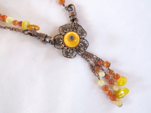 Vintage Look Boho Orange & Yellow Necklace by Carole Sbordone  - featured on Jewelry Making Journal