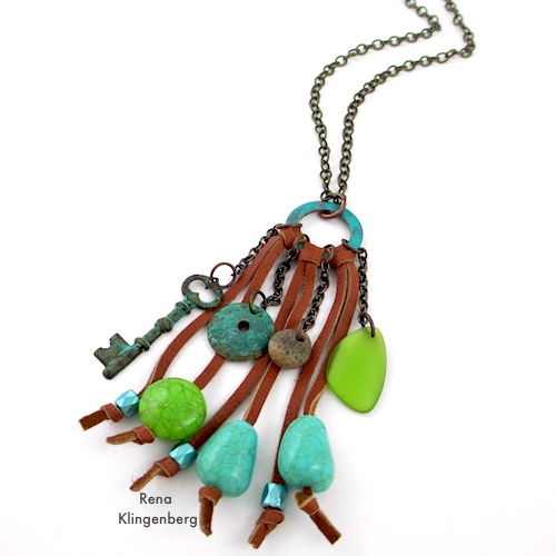Southwestern Boho Necklace Tutorial by Rena Klingenberg - attaching the necklace chain