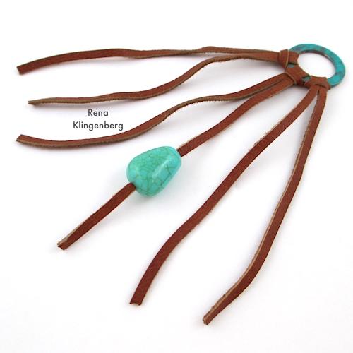 Southwestern Boho Necklace Tutorial by Rena Klingenberg - adding beads