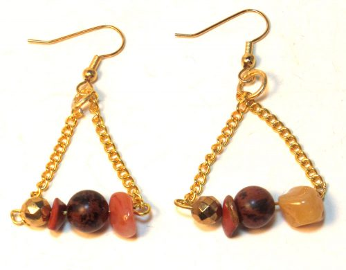 Fall Gemstone Chain Triangle Earrings by Linda Blatchford  - featured on Jewelry Making Journal