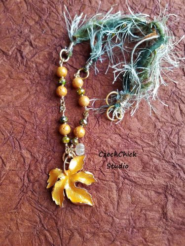 Autumn Leaf Mixed Media Pendant by Donna Raub  - featured on Jewelry Making Journal