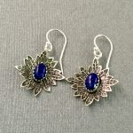 Lapis Earrings on Stamped Sterling