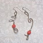 Asymmetric Coral and Sterling Earrings