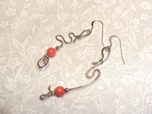 Asymmetric Coral and Sterling Earrings by Lyone Fein  - featured on Jewelry Making Journal