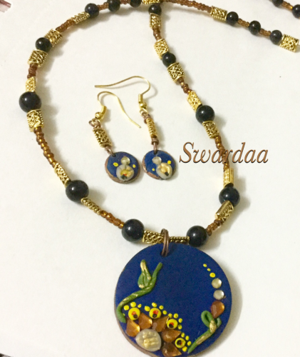 Necklace with Cold Porcelain Pendant by Swapna Dinesh