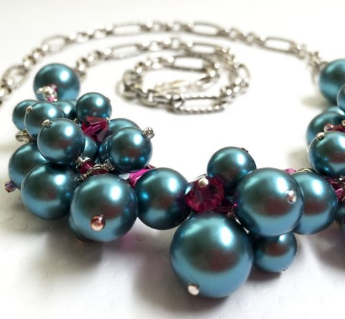 Pearl Cluster Necklace by Andrea Isom  - featured on Jewelry Making Journal