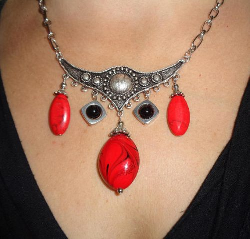 Red Boho Gypsy Necklace, by Lynn  - featured on Jewelry Making Journal