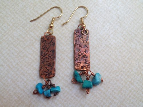 Recycled Copper Pipe Earrings by Carol Wofford  - featured on Jewelry Making Journal