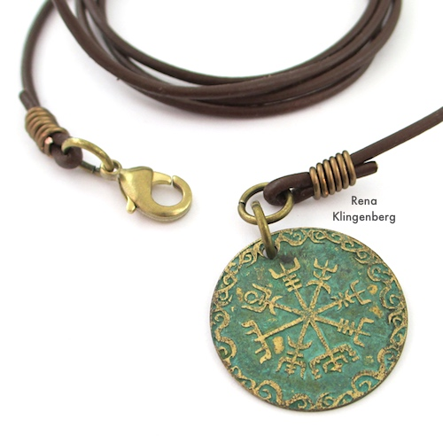 Attaching a Pendant to Leather Cord Wrap Bracelet Tutorial by Rena Klingenberg