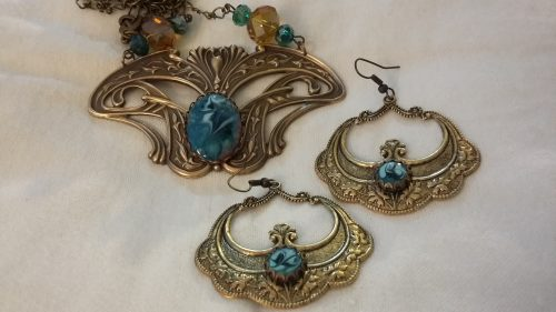 French Art Nouveau Necklace and Antiqued Brass Matching Earrings by Geraldine Farkas  - featured on Jewelry Making Journal