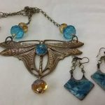 Large French Art Nouveau Dragonfly Necklace