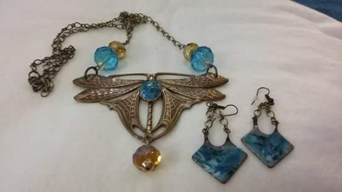 Large French Art Nouveau Dragonfly Necklace by Geraldine Farkas  - featured on Jewelry Making Journal