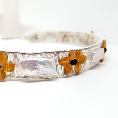 Sunflower Collar Work In Progress by Diana White  - featured on Jewelry Making Journal