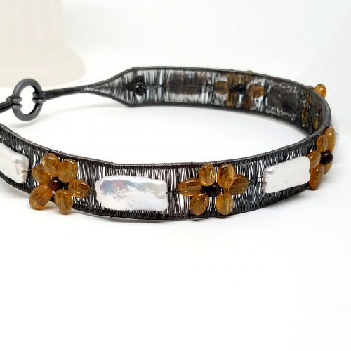 Sunflower Collar After Antiquing by Diana White  - featured on Jewelry Making Journal