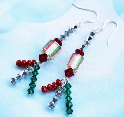 Christmas Cracker Earrings by Jackie Locantore  - featured on Jewelry Making Journal