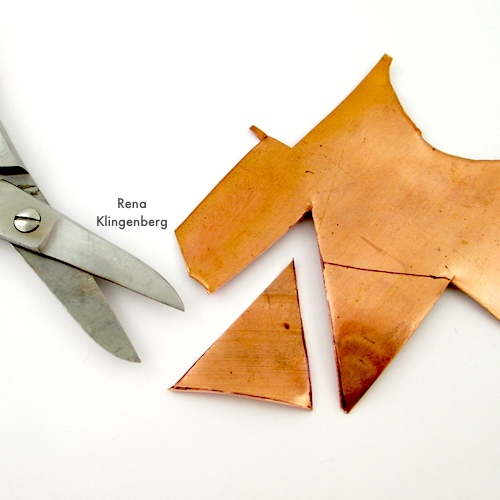 Cutting Metal for Hammered Metal Earrings Tutorial by Rena Klingenberg