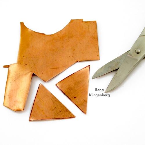 Cutting Metal for Hammered Metal Earrings Tutorial by Rena Klingenberg