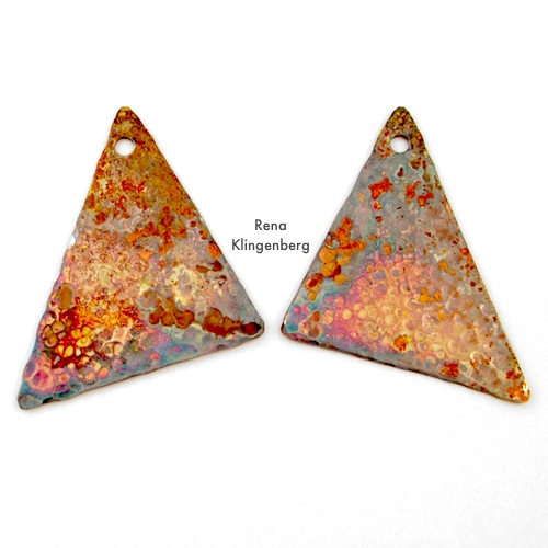 Patina for Hammered Metal Earrings Tutorial by Rena Klingenberg