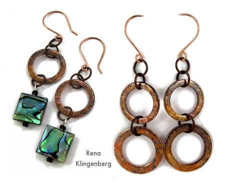 Rustic Copper Washer Earrings, Long and Short - Tutorial by Rena Klingenberg