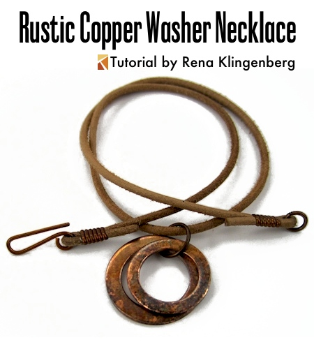 Rustic Copper Washer Necklace Variations Tutorial - by Rena Klingenberg