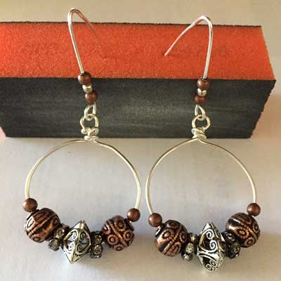Metal Beads, Wire Hoop Earrings by Jaqui Miles  - featured on Jewelry Making Journal