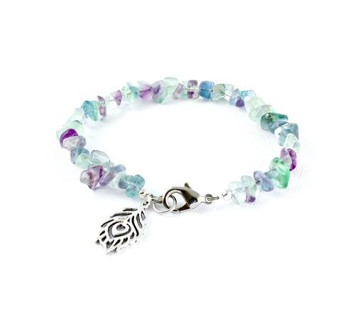 Rainbow Fluorite Peacock Feather Bracelet by Danica Lively  - featured on Jewelry Making Journal