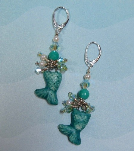 Mermaid Tail Green Opal and Swarovski Combo by Kathy Reading  - featured on Jewelry Making Journal