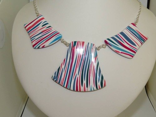 Striped Polymer Clay Necklace by Anne Wallace  - featured on Jewelry Making Journal