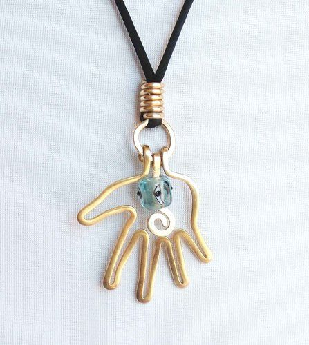 Wire Hamsa Hand Necklace for Allison by Ellie Williams  - featured on Jewelry Making Journal