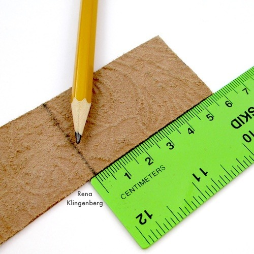 Measuring for Leather Pendant with Grommets Tutorial by Rena Klingenberg