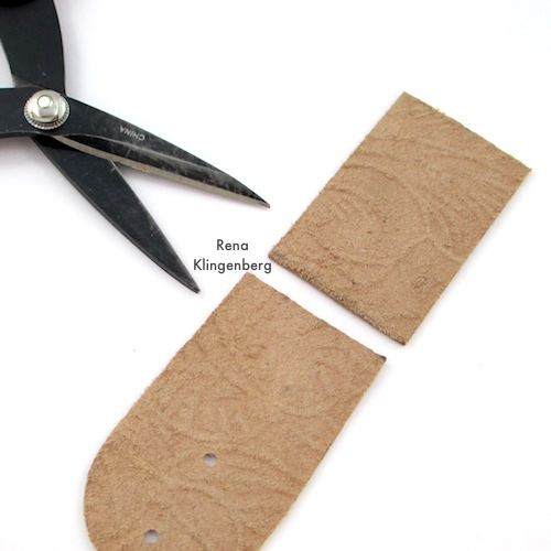 Cutting leather for Leather Pendant with Grommets Tutorial by Rena Klingenberg
