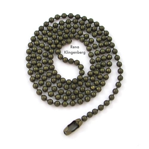 Ball Chain for Leather Pendant with Grommets Tutorial by Rena Klingenberg