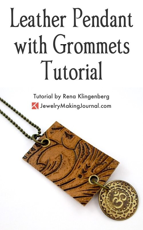 Leather Pendant with Grommets Tutorial by Rena Klingenberg