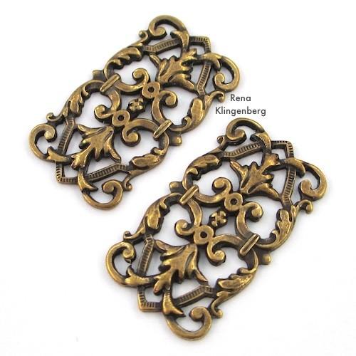 Rectangle Filigree Components for Make Filigree Earrings 10 Design Ideas Tutorial by Rena Klingenberg