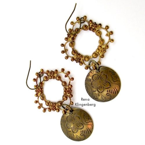 Filigree Earrings with Metal Charms, for Make Filigree Earrings 10 Design Ideas Tutorial by Rena Klingenberg