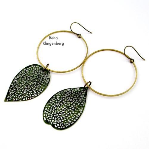 Asymmetrical Leaf and Hoop Earrings for Make Filigree Earrings 10 Design Ideas Tutorial by Rena Klingenberg