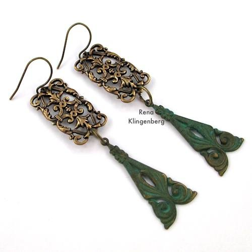 Rectangular Filigree Earrings with Triangle Dangles for Make Filigree Earrings 10 Design Ideas Tutorial by Rena Klingenberg