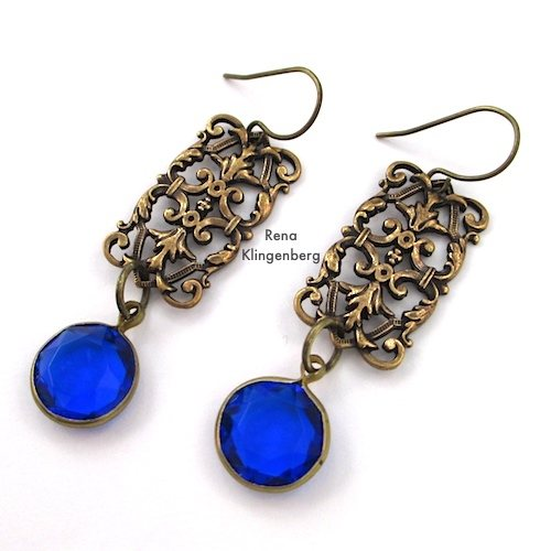 Rectangle Filigree Earrings with Sapphire Glass Cabochons for Make Filigree Earrings 10 Design Ideas Tutorial by Rena Klingenberg