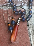 Agate Bullet Knotted Necklace
