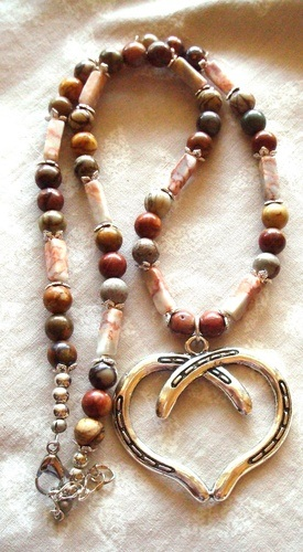 Jasper Gemstone Necklace with Large Pendant by Kathy Zee  - featured on Jewelry Making Journal