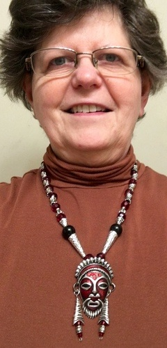 """Boo-YAH!"" Tribal Mask Pendant, story by Beverly Borwick"