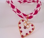 Garnet Gemstone Copper Wire Heart Pendant with Valentine Kumihimo Cord