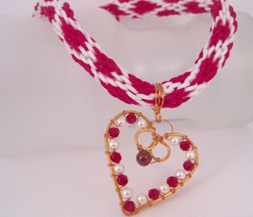 Garnet Gemstone Copper Wire Heart Pendant with Valentine Kumihimo Cord by Stephani Moore  - featured on Jewelry Making Journal