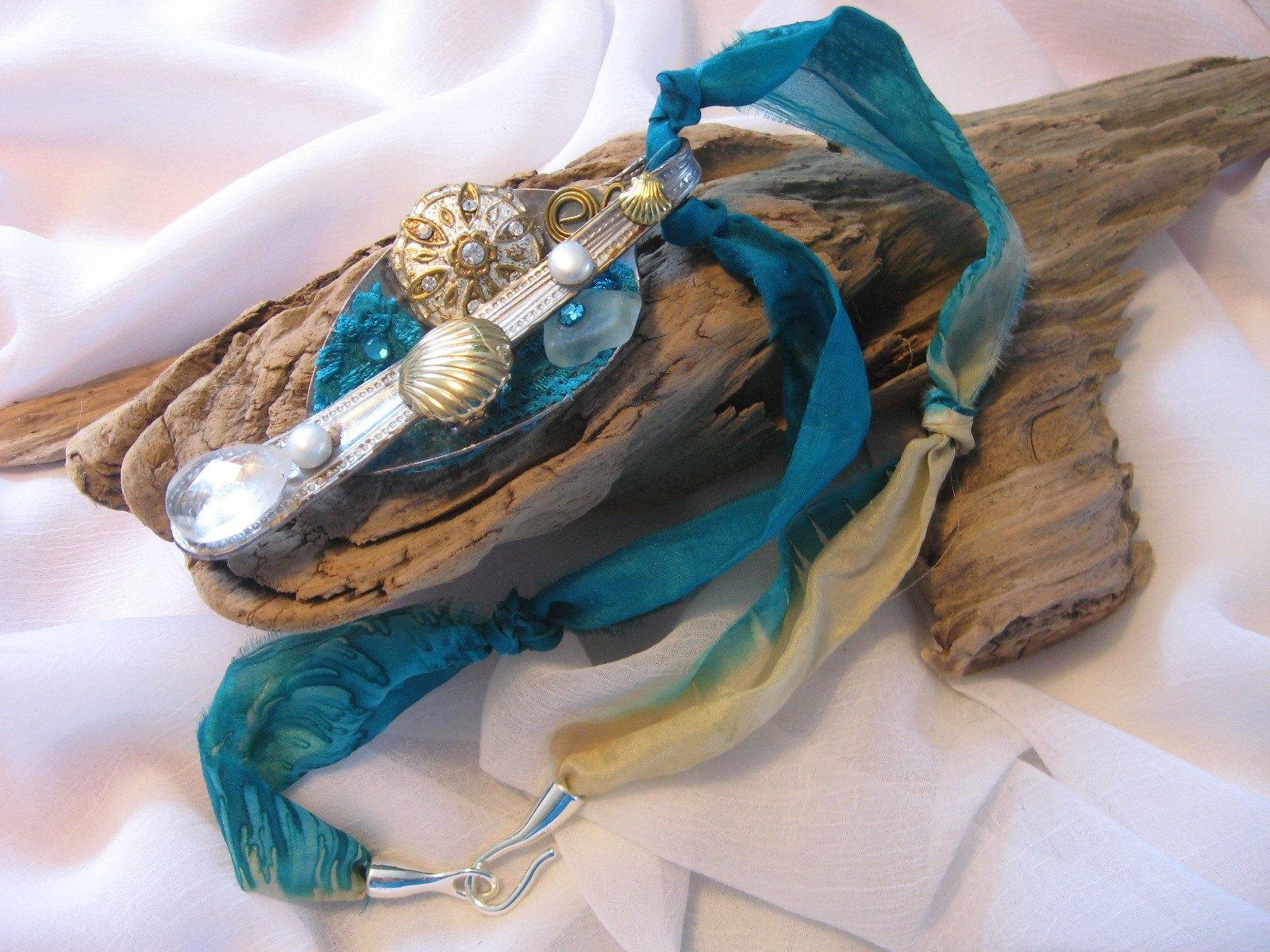 Turquoise Ripped Silk Beachy Jewellery Jewelry Making