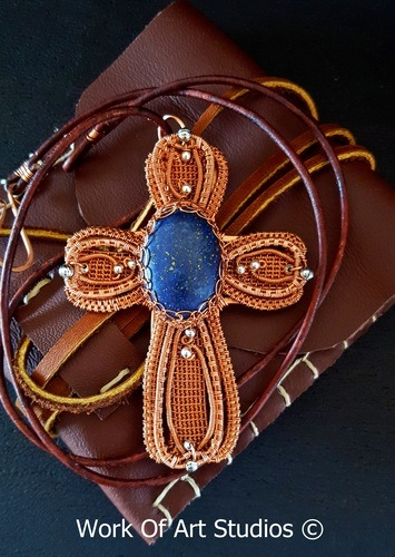 Copper Wire Lapis Cross by Daune Price-Hannah  - featured on Jewelry Making Journal