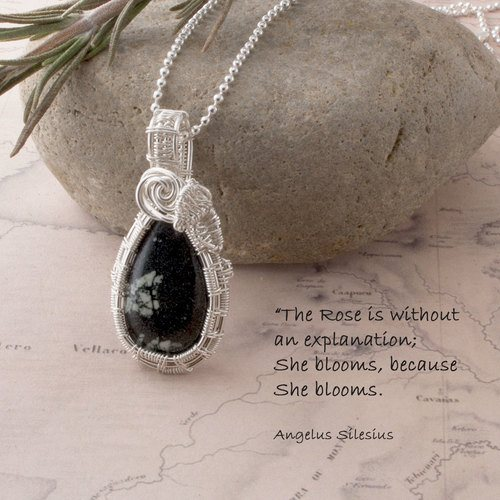 Chinese Writing Stone in Sterling Silver by Annie Laughton  - featured on Jewelry Making Journal