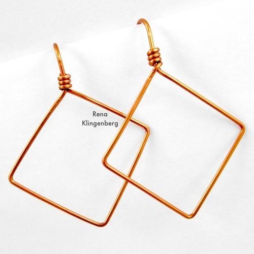 Square Hoop Earrings Tutorial by Rena Klingenberg